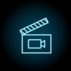 Frame movie, clapperboard blue neon icon. Simple thin line, outline vector of cinema icons for ui and ux, website or mobile application